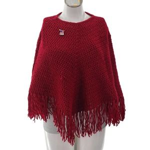 Handmade Red Knit Cape with USA Flag Pin